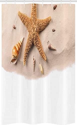 ABAKUHAUS Leben im Meer Schmaler Duschvorhang, Close Up Schuss Muscheln, Badezimmer Deko Set aus Stoff mit Haken, 120 x 180 cm, Sand Brown Pale Tan Sepia & persischer orange