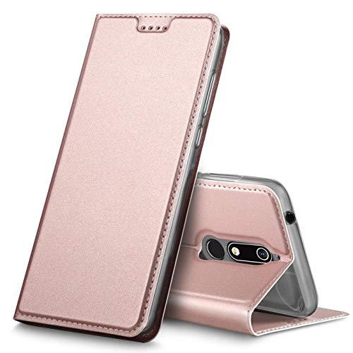 Verco Handyhülle kompatibel mit Nokia 7.1, Premium Handy Flip Cover für Nokia 7.1 Hülle [integr. Magnet] Hülle Tasche, Rosegold