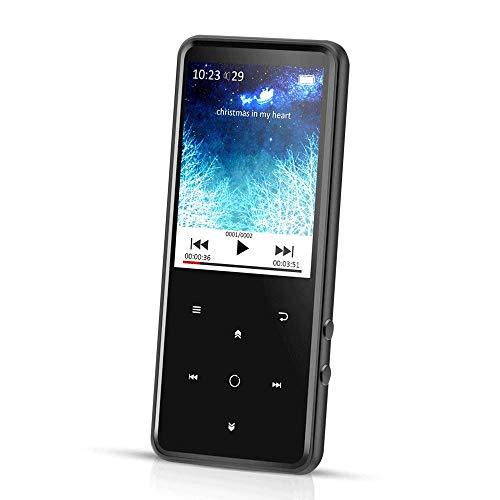 AGPtek Reproductor Mp3 Bluetooth 8 GB, Pantalla 2.4 Pulgadas a Colores, Mp3 Player de Metalico con Radio FM y Ranura para Micro SD Tarjeta, Color Negro C2