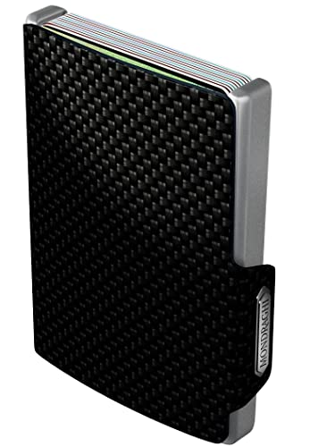 Mondraghi® Kartenetui mit Geldklammer - RFID Schutz - Aluminium - Leder - Miniwallet - Geldbörse - bis 9 Karten - Carbon - Geldbeutel - Kreditkartenhalter - Geldclip - Smart Wallet - Portemonnaie