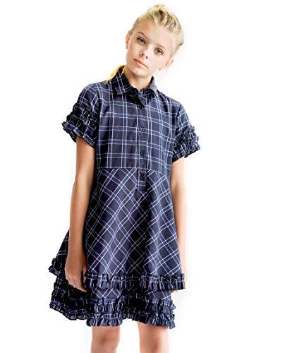 Smukke, Big Girls Tween Cute Preppy Denim Plaid Ruffle Hem Double Layer Skirt Short Sleeves Dress (School, Casual), 7-16 (Navy Plaid, 12)