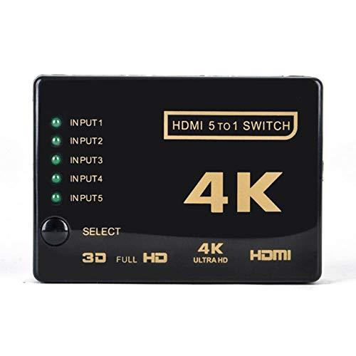DBSUFV Cable Divisor de 5 Puertos Compatible con HDMI, conmutador múltiple 4K, Caja de concentrador Divisor con coleta para HDTV 3840P