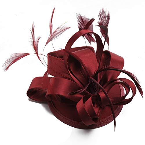 Nvfshreu Velo de mujer elegante para traje de novia, sombrero, sombrero de boda, estilo sencillo, para fiestas de té, cócteles, tocado para el pelo (color rosa)