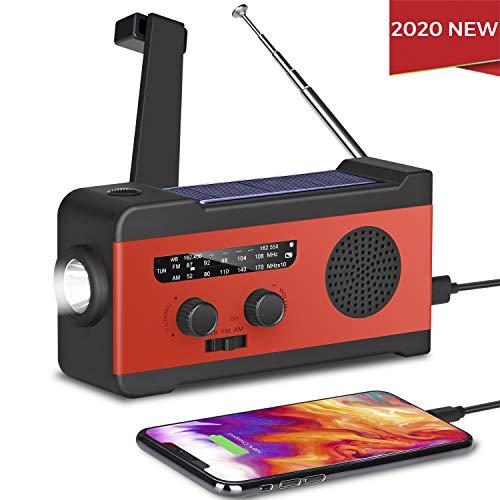 2000mAh Power Bank for Cell Phone SOS Alarm NOAA Weather Radio with AM//FM LED Flashlight 2020 Upgraded Version Fansrock Emergency Solar Hand Crank Radio