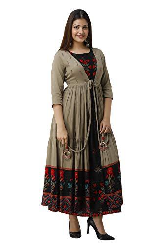 Nehamta Black Color Rayon Straight Women's Kurta with Metallic Brown Cotton Flared Jacket