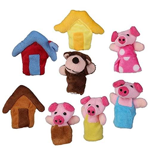 PiniceCore 8pcs Felpa Finger Puppets Story 3 Cerditos Muñecas Lindas para Los Niños, Según Muestra, Tiempo De Juego, Escuelas