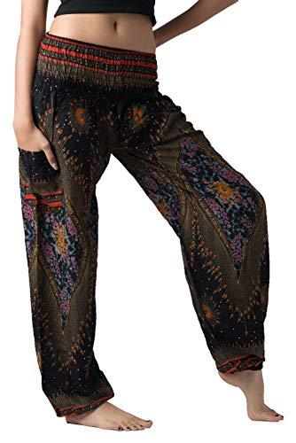 B BANGKOK PANTS Women's Harem Bohemian Hippie Yoga Pajamas Pants Boho Clothing (Black Peacockeye, 16-20 Plus)