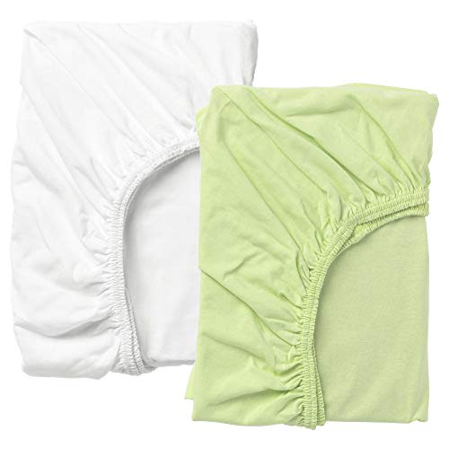 Ikea Len 28'x52' Fitted 100% Cotton Crib Sheets - Package Quantity: 2 Sheets (Green &White)