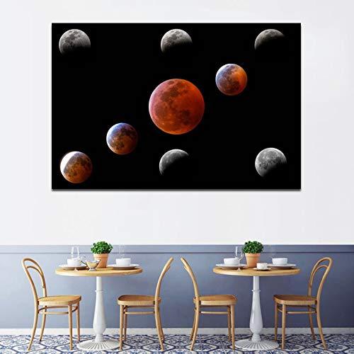 Wenqike Pinturas Decorativas de Arte Moderno, imágenes de Pared de Eclipse de Luna, Impresiones en Lienzo para Sala de Estar, Dormitorio, Lienzo Abstracto, Arte sin Marco 30x45cm