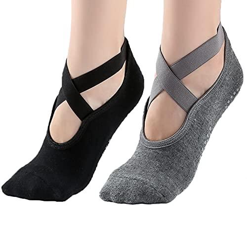 Calcetines de yoga para mujer antideslizantes con agarres y correas, ideales para pilates, pura barra, ballet, baile, entrenamiento descalzo, 2 paquetes (negro y gris)