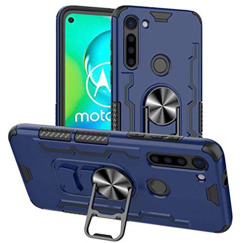 HAOYE Hülle kompatibel für Motorola Moto G8 Power, Handyhülle mit 360 Grad Finger-Halter Kickstand für magnetische KFZ-Halterung, Dual Layer Silica TPU + Harter PC Schutzhülle Cover. Blau