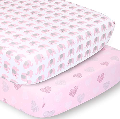 The Peanutshell Fitted Crib Sheet Set for Baby Girls | Pink Elephant & Hearts | 2 Pack Set