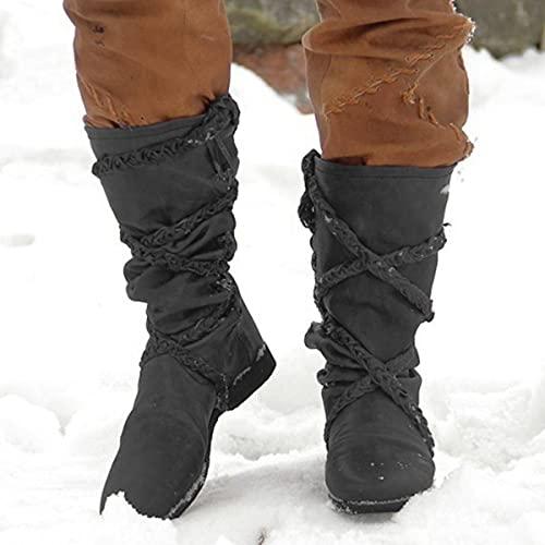 Gothic-Schuhe Lederstiefel Für Männer Frauen Reißverschluss Quaste Retro-Ritterstiefel Wadenbandage Einzelschuhe Langlebiges Leichtes Wikinger-Piratenkostüm,Schwarz,45