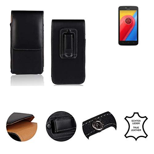 K-S-Trade® Holster Gürtel Tasche Für Lenovo Moto C LTE Handy Hülle Leder Schwarz, 1x