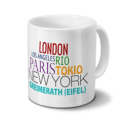 Städtetasse Greimerath (Eifel) - Design Famous Cities of the World - Stadt-Tasse, Kaffeebecher, City-Mug, Becher, Kaffeetasse - Farbe Weiß