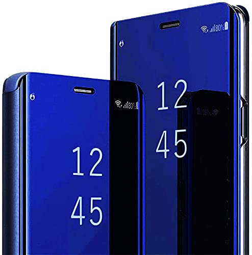 MIYOYE Case for Oppo Realme 5/ C3/5i/ 6i,Luxury Ultra Slim Stylish Make Up Mirror Flip Leather Case Mirror Shockproof Scratchproof for Woman Cover for Oppo Realme 5/ C3/5i/ 6i - Blue