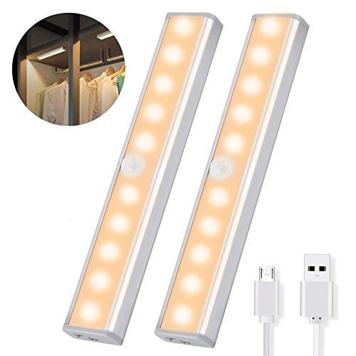 OUSFOT Under Cabinet Lighting, 10 LED Closet Lights Motion Sensor Indoor Wireless USB Rechargeable Battery with 4 Magnetic Strips for Cupboard/Wardrobe/Stairs/Wall Upgraded Version (2 Pack)