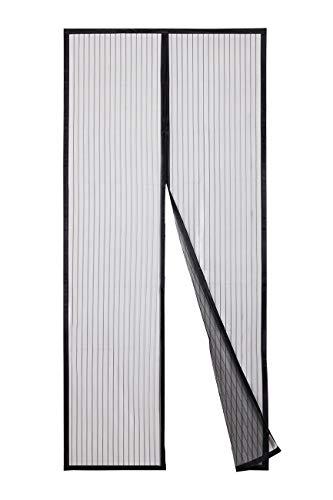 Sekey 110x220cm Magnet Fliegengitter Tür Vorhang für Holz, Eisen, Aluminium Türen und Balkon, Kinderleichte Klebemontage Ohne Bohren, Schwarz