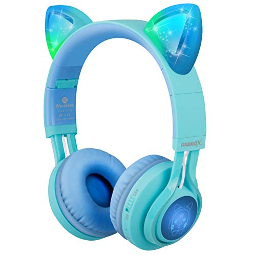 Riwbox CT-7S Auriculares Bluetooth con orejas de gato para niños, limitación de volumen a 85 dB, luz LED, inalámbricos y con micrófono para iPhone/ iPad/ Ordenador portátil/ Pc/ Televisión Azul verde