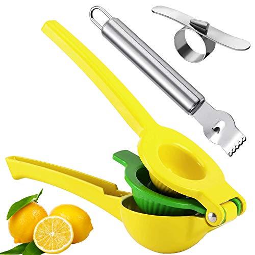OBSGUMU Exprimidor Limón Manual,Exprimidor de limón 2 en 1,Prensa de metal manual, con pelador de naranja Zester de acero inoxidable y rallador de limón Zester,Robusto y Resistente