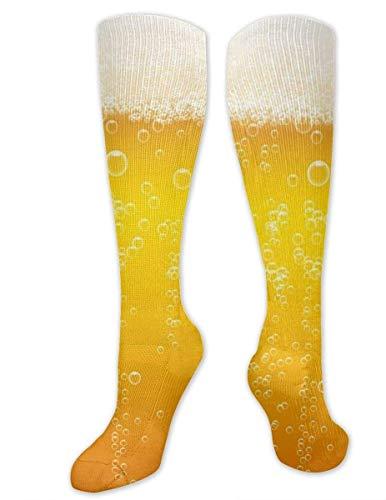 HGQHXY.U Bier Schaum Hintergrund Frauen Männer Beiläufige Hohe Socken Nette Socken Stiefelsocken Verrückte Socken Lustige Socken Crew Socken