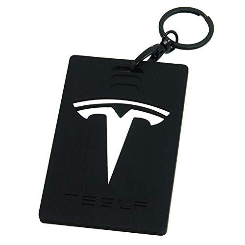 Wall Stickz Car Sales Key Card Holder for Tesla Model 3 Silicone Protector Cover Key Card Keychain (Black)