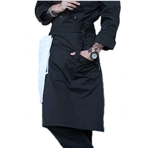 ZAZA Lustige schürzen für männer und Frauen Unisex Taille Schürze, Polyester-Baumwolle Schürze, for Koch, Kochen Küche, Grill und Studio, mit Taschen (Color : Black)