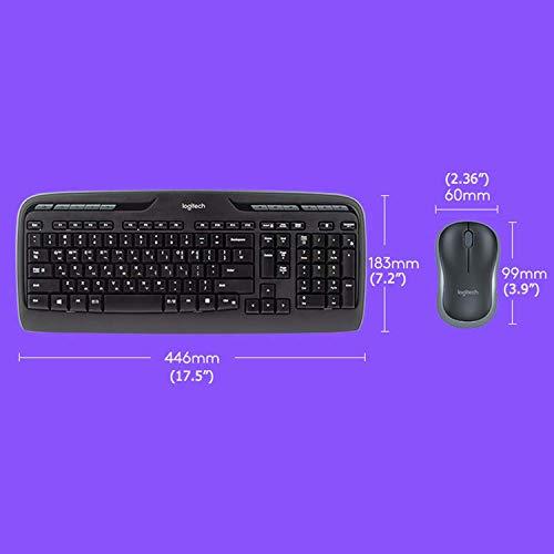 Logitech MK330 Kabelloses Tastatur-Maus-Set, 2.4 GHz Verbindung via Unifying USB-Empfänger, 4 programmierbare G-Tasten, 12 bis 24-Monate Batterielaufzeit, PC/Laptop, Englisches QWERTY-Layout - schwarz