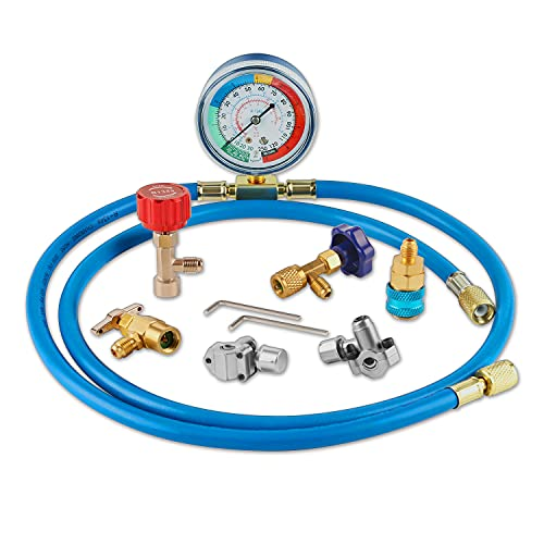 Lichamp A/C R134A Refrigerator Freon Recharge Kit with Bullet Piercing Valve, Piercing and...