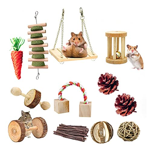 HYDT 12 st tuggleksaker för husdjur hamster, naturligt trä träningsleksaker för marsvin hamsterkaniner, små djur aktivitet kindleksaker