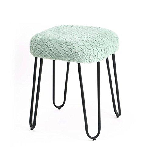 Tabouret en peluche en métal mode maquillage Tabouret Dressing tabouret chaise à thé tabouret de table (Couleur : Vert, taille : H50CM)