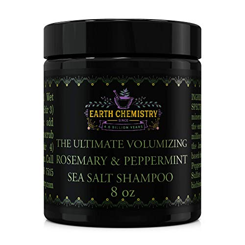 Earth Chemistry Rosemary & Peppermint Volumizing Sea Salt Shampoo, DHT Blocking Shampoo, Volumize Oily or Thin Hair, Stimulate Hair Growth