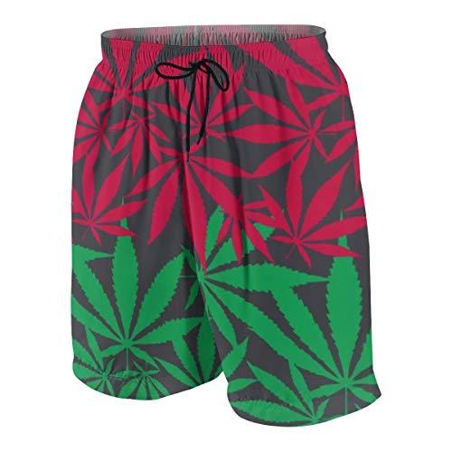 KATERN Herren 3D Druck Kurze Badehosen,Buntes nahtloses Vektormuster des Hanf-Cannabis-Blattes,Schnell Trocknend Hawaii Schwimmhosen mit XXL