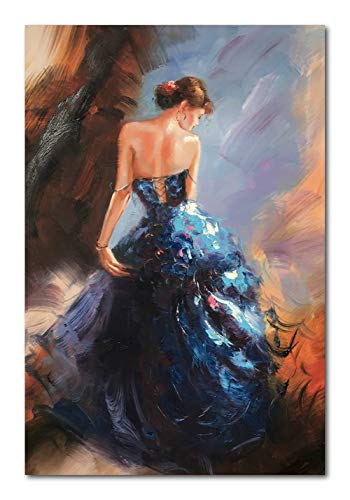 Paimuni Dancing Lady Oil Paintings Hand Painted Attractive Woman Dancer in Blue Dress Canvas Wall Art Ready to Hang Wall Decor (24x36 Inches)