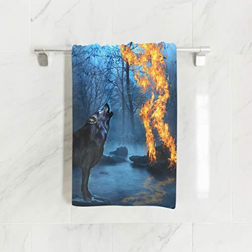 Ahomy Mikrofaser-Strandtücher Flammenwolf, Waldschloss, leicht, groß, 38 x 76 cm