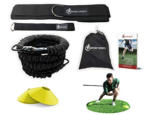 360 ° Dynamic Speed Widerstand und Assistenz Trainer Kit 8 ft. Stärke 80 Lb Widerstand Running Training Bungee Band (Taille). Solo oder Partner. Multisport Power, Kraft, Geschwindigkeit. Gratis Ebook.