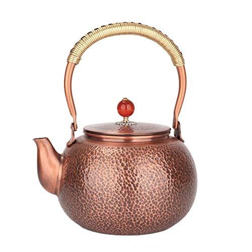 unknow Teekanne Pure Copper Kettle Gehämmerter Teekessel Herd Sicherer Teekessel Blühender und Loseblatt-Teekocher-Set