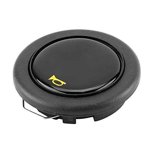 Heitamy Horn Button, Universal Modified Car Steering Wheel Horn Button Black Aluminum Horn Button for Car Replacement Steering Wheels
