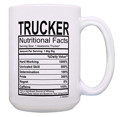Regalos para conductores de camiones Etiqueta de información nutricional para camioneros Regalos para plataformas grandes Taza de té Blanco mujeres hombres vidrio porcelana mango regalo cerámica starb