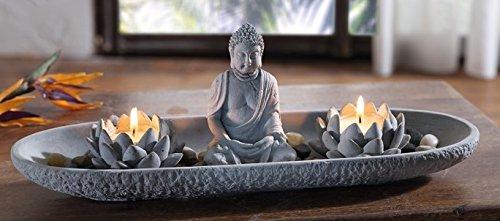 TFH Deko-Set Zen-Garten länglich mit Buddha grau Feng Shui Relaxen