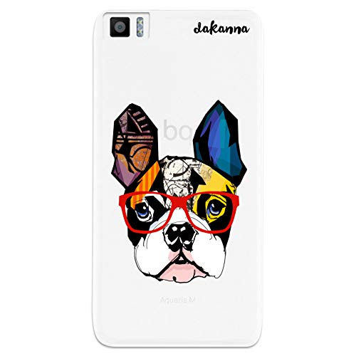 dakanna Funda para [ Bq Aquaris M5.5 - M 2017 ] de Silicona Flexible, Dibujo Diseño [ Bulldog Frances con Gafas Estilo Comic ], Color [Fondo Transparente] Carcasa Case Cover de Gel TPU