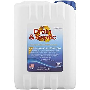 TLC Products Bacteria y enzimas para Eliminar Mal Olor en drenajes y baños Drain & Septic (5 L)