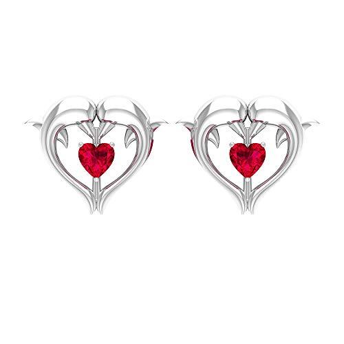 Pendientes de corazón de rubí, pendientes de corazón para mujer, con rosca rojo