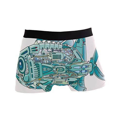 BONIPE JERECY Herren Unterhose Boxershorts mit Maschinenwäsche und Fisch, Stretch, atmungsaktiv, niedrige Höhe, Größe S Gr. M, Mehrfarbig