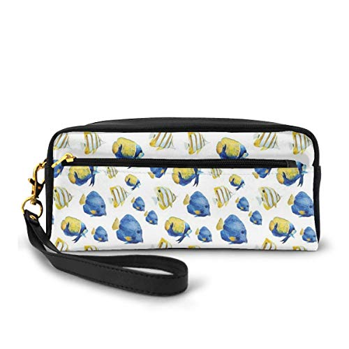 Pencil Case Pen Bag Pouch Stationary,Group of Flat Bodies Exotic Oceans Vibrant Color Patterns Abstract Illustration,Small Makeup Bag Coin Purse