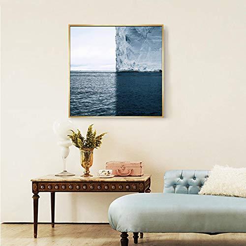 Impresiones de carteles en HD El paisaje perfecto de cuatro cuadrados de los icebergs en la Antártida Pinturas en lienzo Decoración para el hogar 70x70cmx1pcs marco interior
