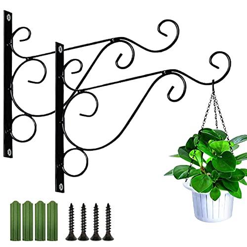 2 Piezas de Plantas de Soporte Colgante | Soporte para Plantas de Decoración de Jardín | Maceta de Metal Colgante | para Macetas, Cestas Colgantes y Otras Decoraciones (Negro, con Tornillos Adjuntos)