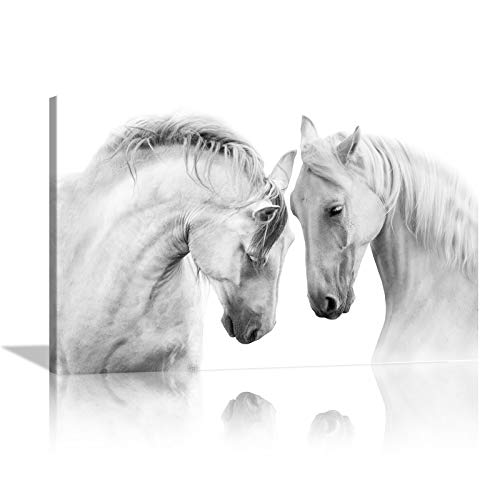 KALAWA White Horses Wall Decor Wild Animals Wall Art Steeds Artwork Modern Home Decorations 2 White Mustang Print Canvas Painting for Living room Study Office Framed Ready to Hang(28''W x 44''H)