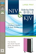 NIV, KJV, Parallel Bible, Large Print, Leathersoft, Pink/Brown: The World's Two Most Popular Bible Translations Together