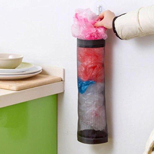 Vovotrade® Porte-Sac à Provisions Ordonné à la Maison Distributeur de Rangement Mural Récepteur de Cuisine en Plastique (Noir)
